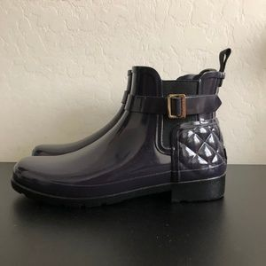 Hunter Purple Gloss Quilted Chelsea rain boot